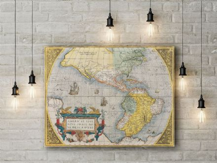 Abraham Ortelius Map of the America. Fine Art Canvas.